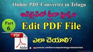 How to edit PDF file in Telugu #6 | Free Online PDF Converter Telugu