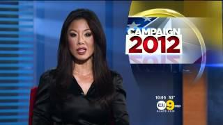 Sharon Tay 2012/03/13 KCAL9 HD; Black satin dress