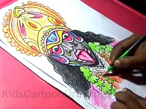 How To Draw Goddess Mahankali Devi Drawing