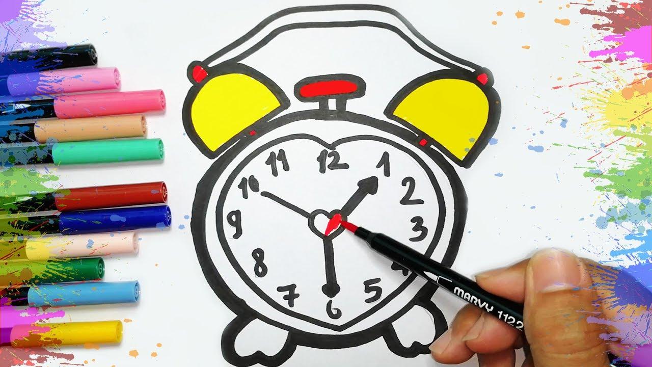 Zeichnen und Malen eine Uhr für Kinder ⏰ Farben Lernen auf Deutsch   Drawing and coloring for kids