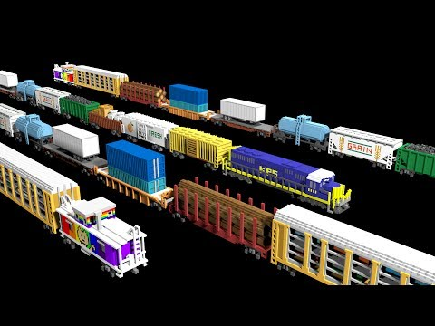 3D Freight Train Cars - Railway Vehicles - Trains - The Kids' Picture Show (Fun & Educational)
