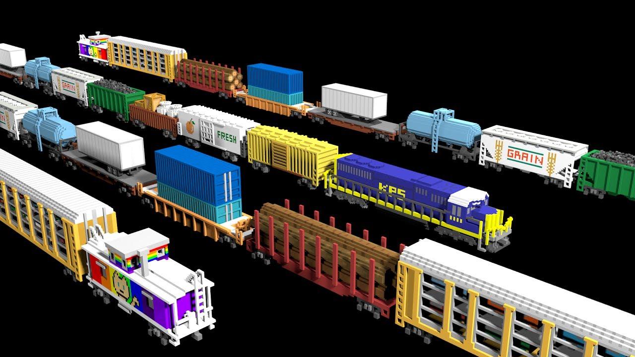 3d Freight Train Cars Railway Vehicles Trains The Kids