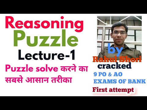 PUZZLE Lecture -1 For any  Bank PO /Clerk/ & other gov.exams
