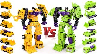 Transformers Construction Green Devastator VS Yellow Devastator MF 17 Hercules Combine Robot Car Toy