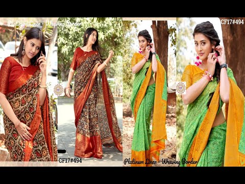 New Arrival Linen Sarees With Beautiful Digital Print And Weaving Border Collections For Best Price