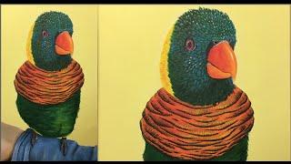 Lorikeet Acrylic Painting Tutorial | Parrot