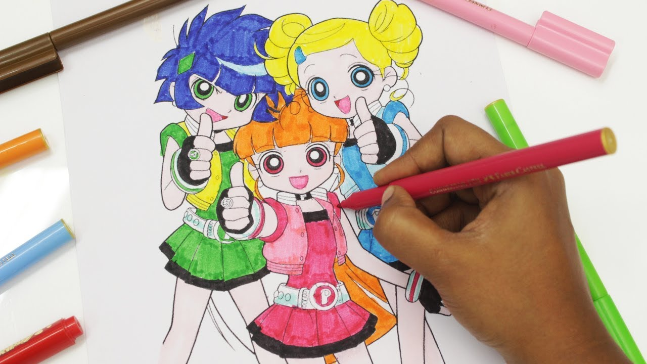 Powerpuff Girls Colouring Book Bubbles Blossom Buttercup