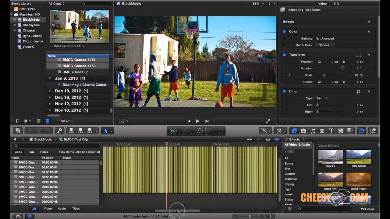 BlackMagic Design Cinema Camera RAW Footage with Adobe Lightroom + Final  Cut Pro X