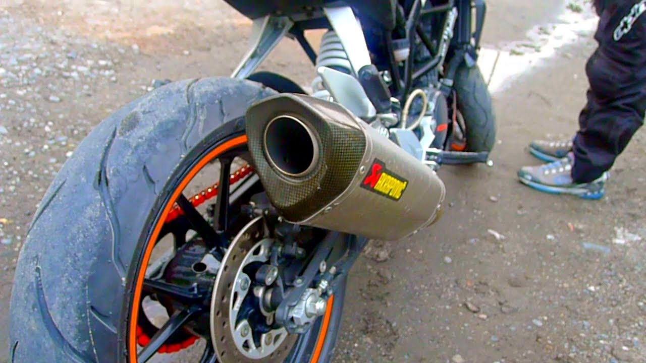 Sound Test Akrapovic Titanium Racing Muffler On Ktm Duke