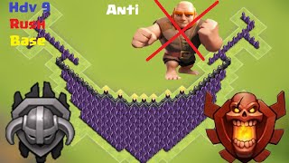 Clash Of Clans - Village Hdv 9 Rush Champion