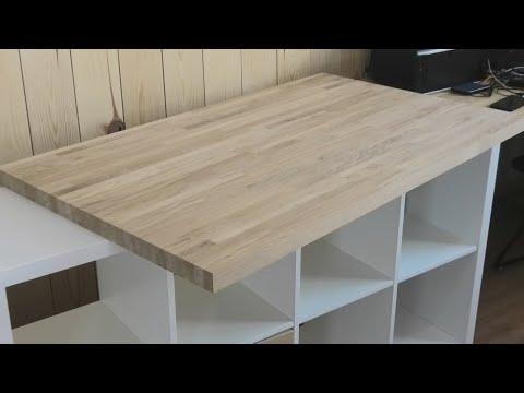 Недорогой дубовый стол из мебельного щита, который каждый может сделать своими руками.