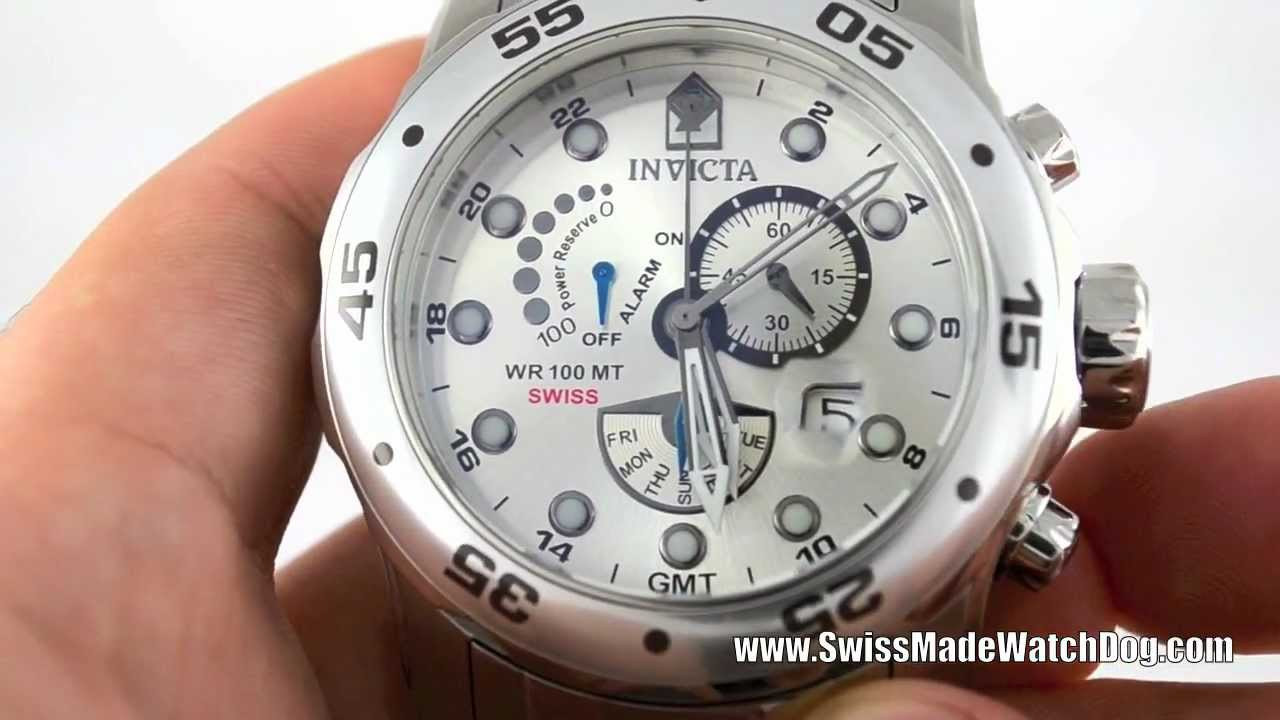 e34fb49f0 Invicta Watches Men's 6088 Pro Diver Scuba Collection GMT Alarm Power  Reserve Swiss Watch - YouTube