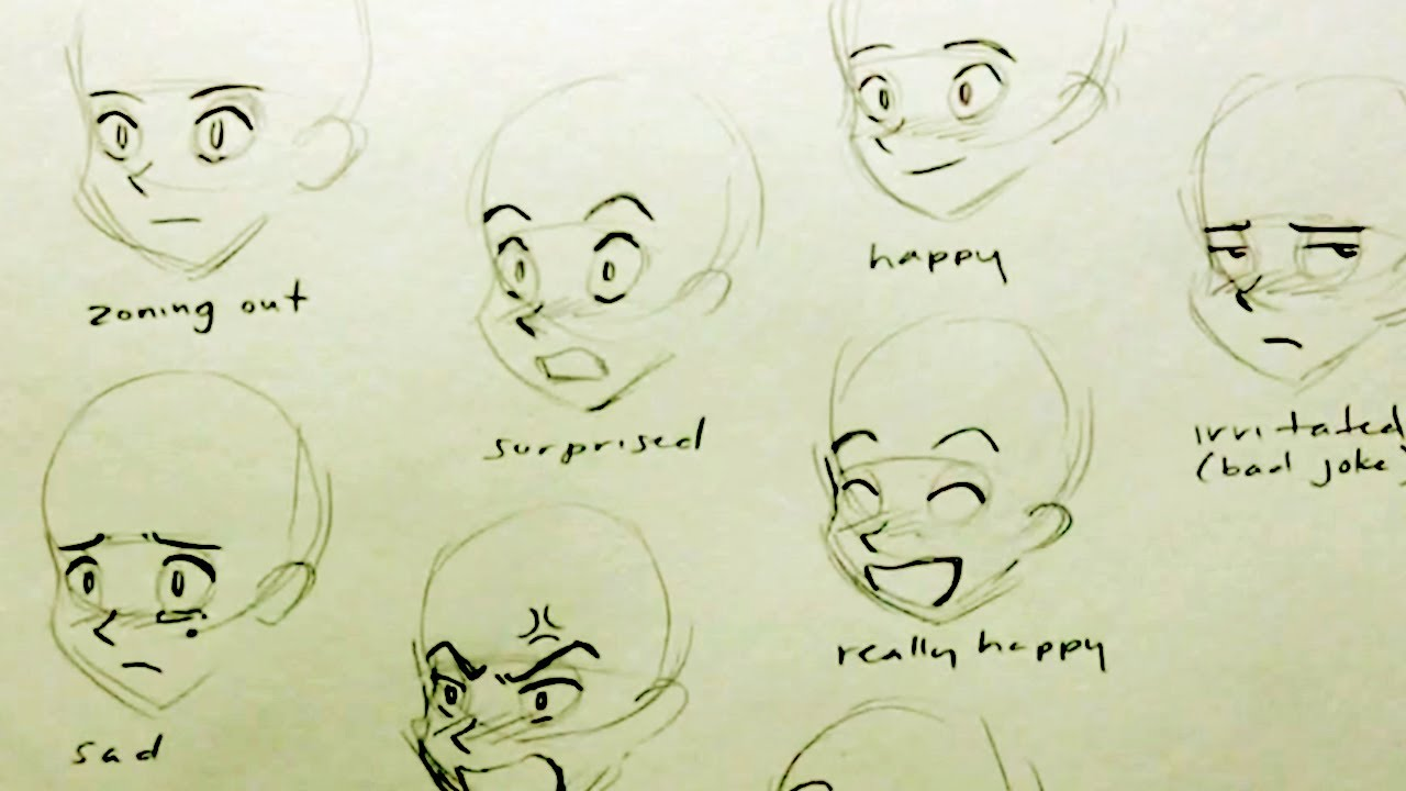 Drawing anime facial expressions consider