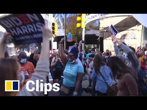 Dance party erupts in Philadelphia after Biden takes lead over Trump