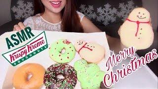 ASMR Christmas Themed DOUGHNUTS | Krispy Kreme | Eating Sounds (No Talking)