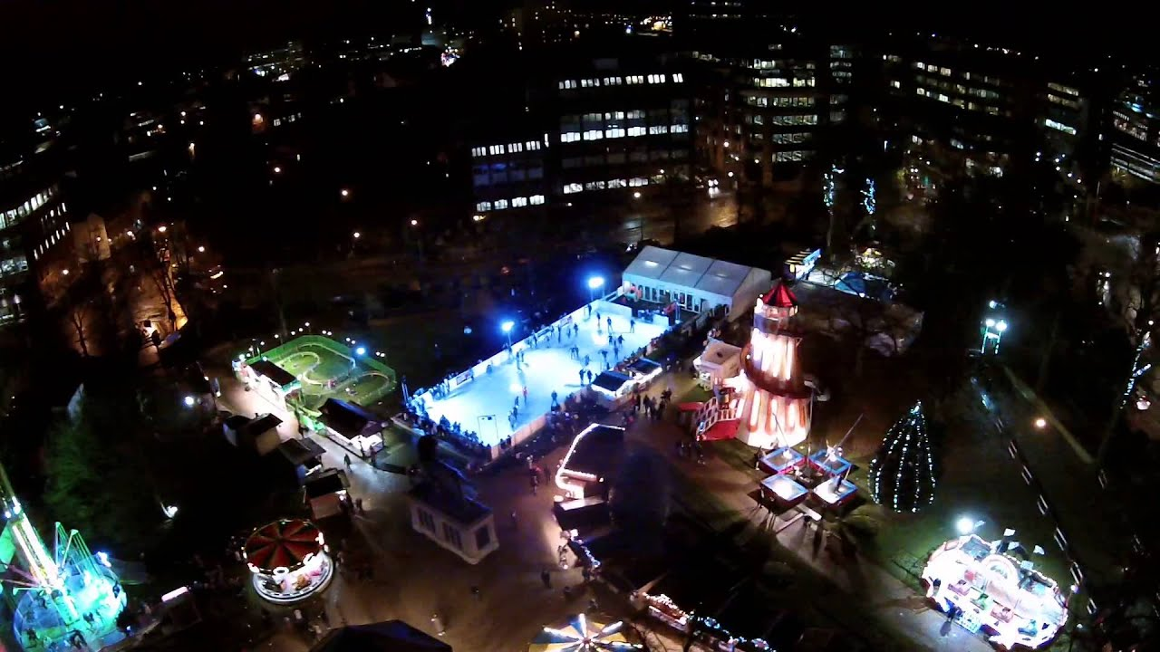 reading winter on ice at the forbury gardens arial footage 2014