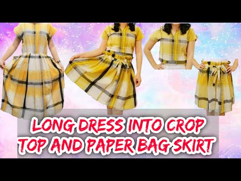 Thrift Flip with me (DIY Transformation) Long Dress into a Crop Top and Paper Bag Skirt