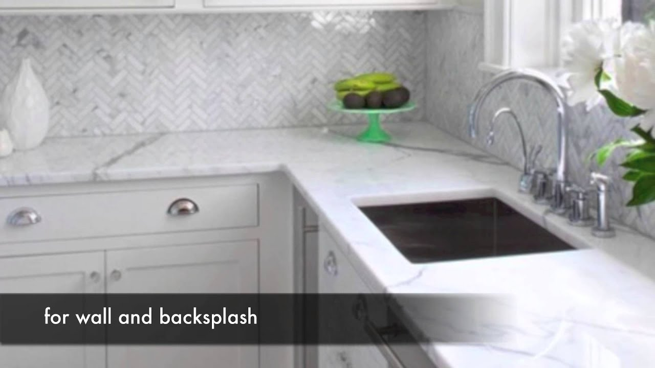 binaco white carrara marble tile kitchen design ideas youtube - Marble Kitchen Design