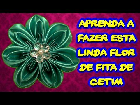 Aprenda a Fazer Esta Linda Flor de Fita de Cetim - Artesanato Brasileiro   Passo a Passo DIY #03