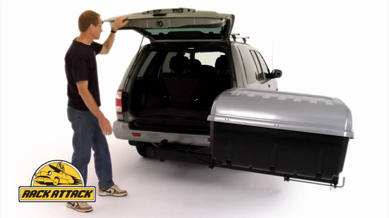 Thule 684 Terrapin Hitch Mount Cargo Box Demonstrated By Rack You