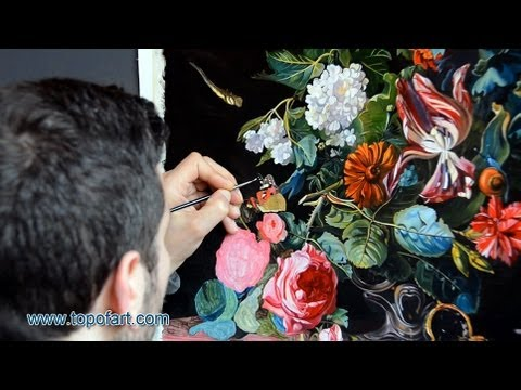 Art Reproduction (van Aelst - Flowers in a Silver Vase) Hand-Painted Step by Step