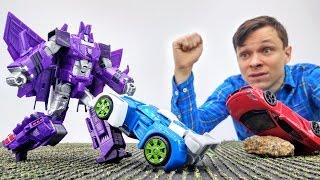 Детское видео: игры #машинки и #трансформеры! Гонка! Кто победит? Папа Тайм