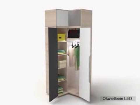 Eckkleiderschrank kinderzimmer  Eckschrank 3-Colors - YouTube