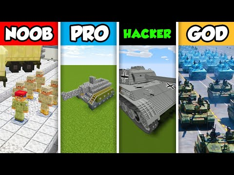 Minecraft NOOB Vs. PRO Vs. HACKER Vs. GOD: ARMY DEFENCE CHALLENGE In Minecraft! (Animation)