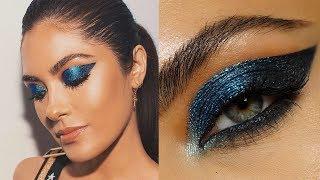 Graphic Metallic Blue Eye Makeup | Melissa Alatorre thumbnail