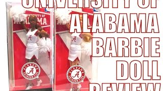 UNIVERSITY OF ALABAMA COLLEGIATE BARBIE DOLL REVIEW.  ROLL TIDE!