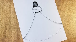 Easy way to Draw a girl With beautiful dress   How to Draw a girl with beautiful dress/Girl Drawing.