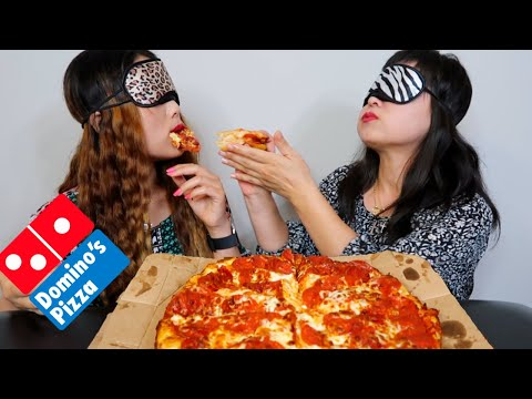 DOMINOS CHEESY PEPPERONI PIZZA MUKBANG (BLINDFOLDED) + SPECIAL DESSERT | Kim&Liz Too from YouTube · Duration:  17 minutes 33 seconds
