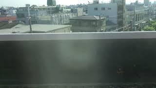 近鉄大阪線 大阪上本町駅16:50発鳥羽行特急 鶴橋−恩智間車窓 色鮮やかなバラスト
