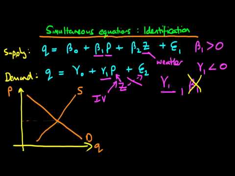 Simultaneous equation models - parameter identification
