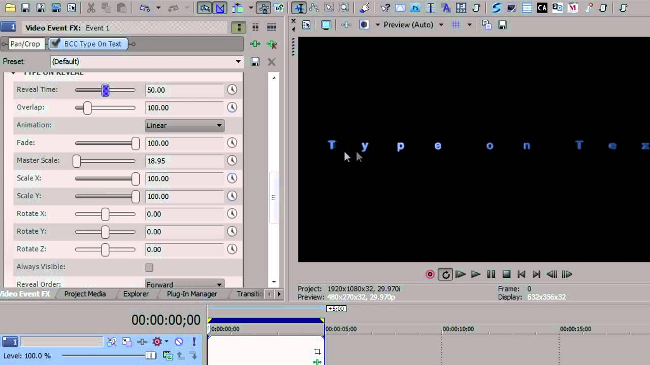 how to make text appear sony vegas
