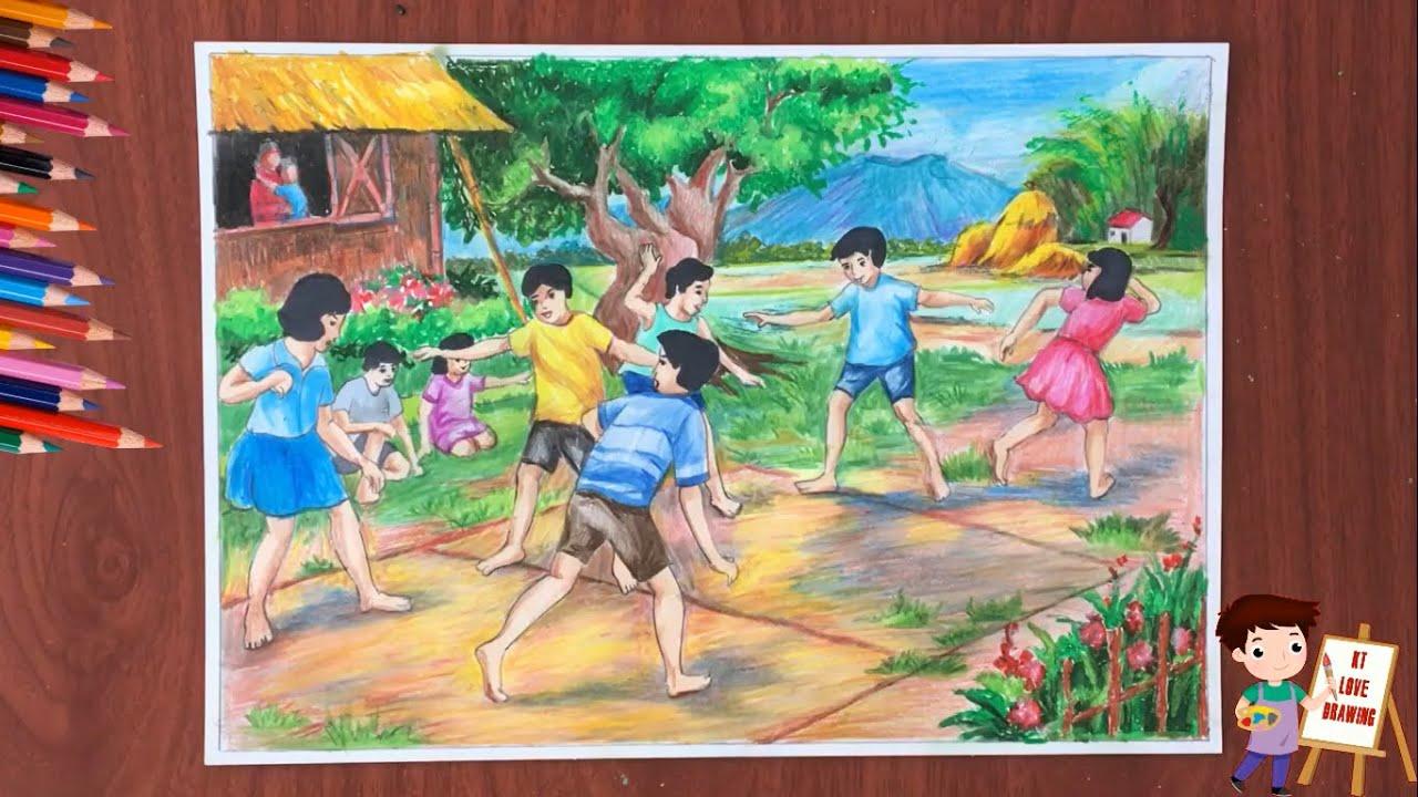Vẽ tranh đề tài: Mùa hè ở quê em / How to draw the summer vacation.