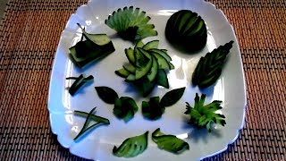 10 LIFE HACKS HOW TO MAKE CUCUMBER FLOWER GARNISH DESIGN & ART IN CUCUMBER - VEGETABLE CARVING