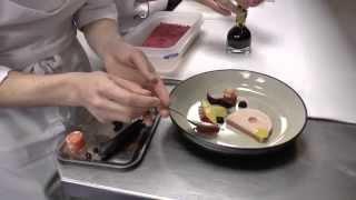 Michel Van Der Kroft prepares a signature dish with foie gras and eel at