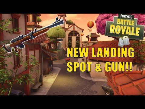 Fortnite | *NEW* LANDING SPOT & GUN! Lucky Landing & Hunting Rifle!