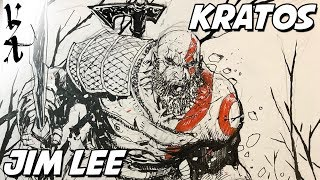 Jim Lee drawing Kratos from God of War