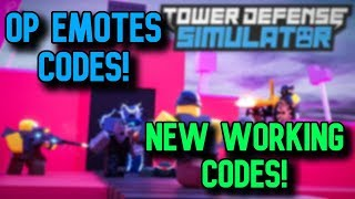 NEW *OP* WORKING CODES (EMOTES UPDATE) Roblox Tower Defence Simulator