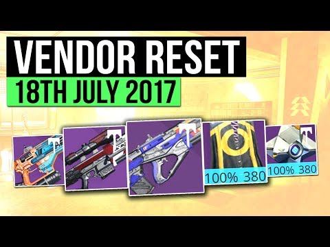 Destiny | WEEKLY VENDOR RESET! - Best Vendor Weapons & All 100% Stat Roll Armor! (18th July)