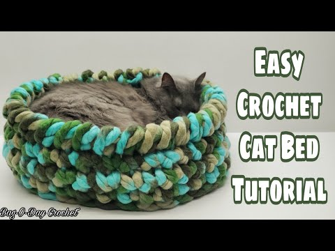 Easy Crochet Cat Bed | Bagoday Crochet Tutorial 659 Subtitles Available In 21 Languages