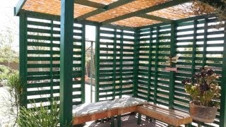 My wood pallet patio/shade. Made using wood pallets. Music by: http://www.youtube.com/watch?v=mKkV6dKF_Fo.