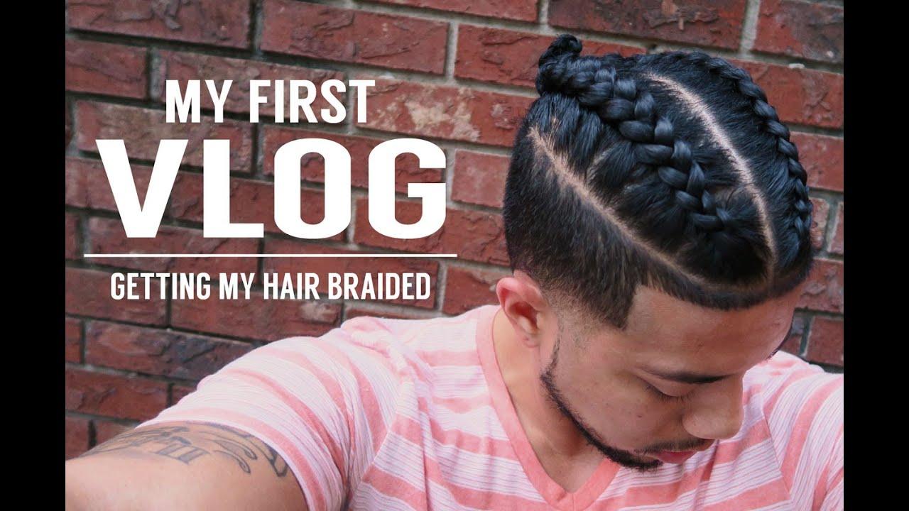 FIRST VLOG GETTING MY HAIR BRAIDED  SAMURAI TOP KNOT MAN BUN   YouTube