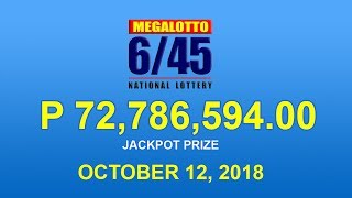 PCSO Mega Lotto 6/45 Result October 12, 2018 - Lotto Results Today