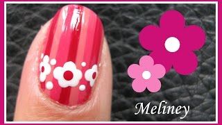 PINK STRIPES AND FLORAL BAND NAIL ART DESIGN TUTORIAL FOR BEGINNERS EASY SIMPLE PINK FLOWER FREEHAND