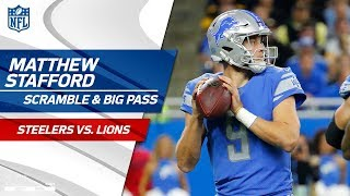 Matthew Stafford Scrambles & Delivers Deep Strike to Set Up FG! | Steelers vs. Lions | NFL Wk 8