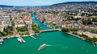Drone Views of Switzerland in 4k: Zurich - Along The Limmat River