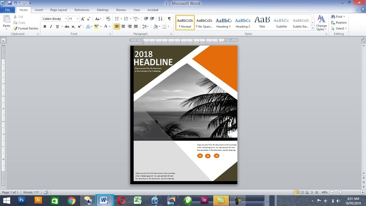 how to make book cover page in ms word